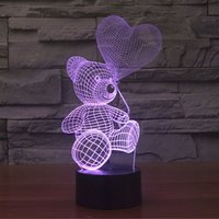 Effetto di illuminazione colorato creativo Incredibile illusione ottica 3D Orso carino che gioca a palloncini Decorazione Touch Switch Night Light Desk Lamp