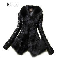 Sıcak kadın Faux Kürk Deri Giyim Snowsuit Uzun Kollu Ceket Siyah Moda
