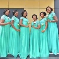 2020 South African Mint Green Long Damigella d'onore Abiti Dubai Sheer Crew Collo Maniche corte economiche Plus Size Maid of Honor Abiti BM0145