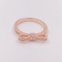 Rose Chapado en oro 925 Anillo de plata esterlina Sparkling Bow EUROPE PANDORA Estilo Joyería Charm Ring Regalo 180906CZ