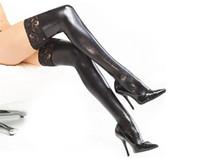 Женщины чулочно-носочные изделия зашнуровать ультра эластичный кожаный клей сексуальные чулки сексуальное женское белье искусственной кожи бедра максимумы сексуальные латексные чулки PU чулок