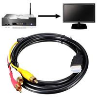 FreeShipping 100 шт. / Лот 1,5 м / 5 футов 1080P HD-MI до 3 кабеля RCA HD-MI до AV MEAL ADAPTER AUDIO для DVD HDMI до 3RCA