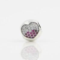 Top Venda S925 Sterling Silver Imagem Do Coração Spacer Charme Bead Micro Pave Bola de Cristal Beads Fit Para Encantos De Luxo Europeu Pulseira Berloques