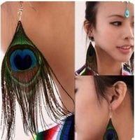 Retro-stijl Luxury Peacock Feather Oorbellen Nationale Wind Kleurrijke Easy Matching Eardrop Dangle Oorbellen Sieraden