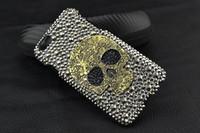 3D Strass Metall Schädel Telefon Fall für IPhone 7 6 6 S 5 5 S 5C 4 Samsung Galaxy Note 5 4 3 2 S6