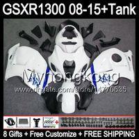 8Gifts för SUZUKI HAYABUSA GSXR1300 08 15 GSXR-1300 Glans Vit 14MY98 GSXR 1300 GSX R1300 08 09 10 11 12 13 14 15 Fairing White Black Kit