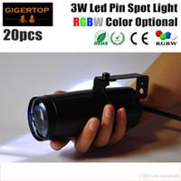 Alta calidad 20pcs / lot 3W LED Pin Spot Light (rojo, verde, azul, blanco a elegir) Luz LED de escenario Precio barato para fiesta de bodas TP-E20