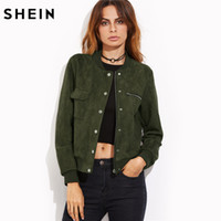 970f9634c3a Wholesale- SHEIN Olive Green Suede Hidden Zip Bomber Jacket Fall Winter  2017 Women s Jackets and Coats Stand Collar Single Breasted Jacket