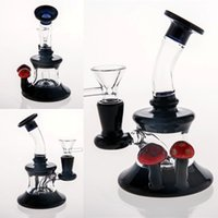 Real Images mini Glass Bongs Red mushroom Decorated Black Gl...