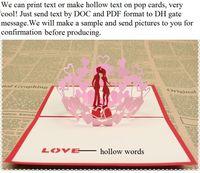 Lazer kesim düğün davetiyeleri düğün iyilik düğün davetiyeleri kartları özelleştirilmiş hollow metin aşk pop up kartları parti zarf ile yanadır