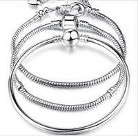 925 gümüş mağaza, 17-23 cm gümüş kaplama bilezik logolu, kaplama takılar bilezik zinciri
