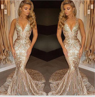 New African Luxury Gold Mermaid Prom Dresses 2018 V Neck Sex...