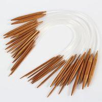 18pcs 40cm Suave tubo circular de doble punto bambú carbonizado agujas de tejer