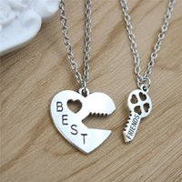 2 pz / set Hot Fashion Best Friends Collane Del Pendente Chiave Del Cuore Collane In Argento Placcato Amicizia Lunghe Collane Per Amico Regalo
