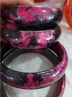 Chiński Piękny Naturalny Zielony Czerwony Peach Blossom Jadeite Jade Bransoletka Bransoletka Handmade Średnica Wewnętrzna 56-60 mm V1