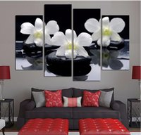 Wholesale white flower oil painting buy cheap white flower oil 4 panels black white flower canvas painting combined oil painting on the wall free shipping mightylinksfo