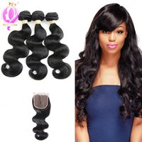 Lace Closure With Bundles Brazilian Virgin Hair Body Wave Hu...