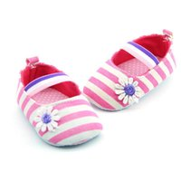 New Arrival Baby Girl Canvas Striped Soft Sole Shoes Crib Sh...