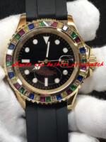 럭셔리 손목 시계 검은 고무 팔찌 40mm 레인보우 다이아몬드 시계 자동 기계 운동 남자 시계 새로운 도착