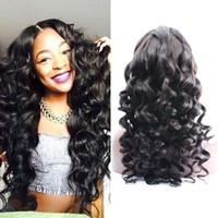 Lâche vague pleine perruque de cheveux humains sans colle dentelle avant perruque de cheveux péruvienne pour les femmes noires 7A haute qualité livraison gratuite