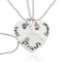 Al por mayor-El más nuevo de moda mejor amigo Collares pendientes 3 piezas / Set Broken Heart Link Collar de cadena con incrustaciones de diamantes de imitación regalo para hombres mujeres