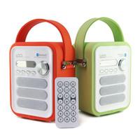 Moda Nuevo Exquisito iBox P50 Altavoz Bluetooth recubierto de cuero multimedia con radio FM TF / USB Reproductor de MP3 Caja de música portátil de madera Subwoofer