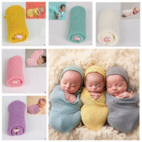 Baby Swaddling Fotografie Requisiten Neugeborenen Wrap Stretch Knit Decken Weiche Bettwäsche Schlafsäcke Schals Baby Neugeborenen Swaddle Badetücher J164
