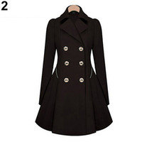 Wholesale- 2017 New Ladies Fashion Lapel Long Winter Coat Do...