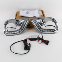 Super helle LED-Tagfahrleuchten dedicater mit Nebellampenabdeckung für TOYOTA RAV4 2013-2016, LED Frontstoßstange DRL