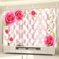 Morden Luxury 3d foto per Wall Wedding House soggiorno Wallpaper murale soffitto camera da letto TV divano sfondo Rose Paper Murale casa