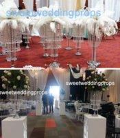 Akrilik kristal yüksek kaliteli düğün için ipek ipek çiçekler topu koridor centerpieces dekor