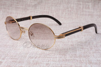 Óculos redondos Gado chifre óculos 7550178 naturais chifres negros homens e mulheres óculos de sol Glasess Eyewear Tamanho: 55-22-135mm