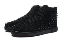Cheap red bottom sneakers for men Luxury black suede with Sp...