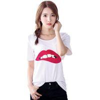 Camisetas de mujer Sex GreenRed Lips imprimir moda nueva camiseta de manga corta o-cuello tops camisetas más tamaño blanco casual NV35 RF