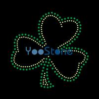 Alle Arten von Gliederung Irish Shamrock Strass Transfer Eisen auf Hot Fix Motiv für T-Shirts