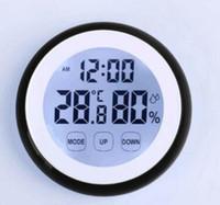 10pcs / lot Intérieur Écran Tactile Électronique Numérique LCD Affichage Temps Température Humidité Hygromètre Thermomètre