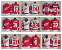 Maillot de hockey des Red Wings de Detroit 4 Gordie Howe 14 Brendan Shanahan 33 Kris Draper 31 Curtis Joseph Vintage CCM Authentic Jerseys