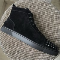 New Mens Womens Black Suede with Spikes Toe Red Bottom High ...