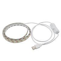 USB 5V LED 스트립 5050 TV 배경 조명 60LEDS / M 따뜻한 화이트 / 스위치 스트립 세트가있는 따뜻한 화이트 / 화이트 USB 케이블
