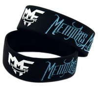 50PCS nero largo 1 pollice Dimensioni Memphis May Fire Wristband del silicone per adulti per Music Fans regalo