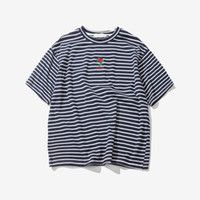 Rose Embroidery Striped Mens T- shirt Short Sleeve Summer Hi-...