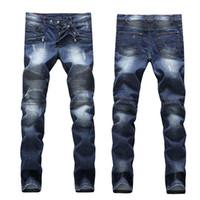 Sıcak satış Skinny Jeans Yırtık Moda Tasarımcısı Erkek Şort Kot Ince Motosiklet Moto Biker Nedensel Erkek Denim Pantolon Hip Hop erkek Kot
