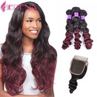1b Burgundy Ombre Loose Wave With Closure Wine Red Hair With...