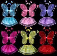 Сказочная принцесса дети костюм набор крылья бабочки палочка оголовье пачка юбка детская сценическая одежда девушки партия Хэллоуин костюмы
