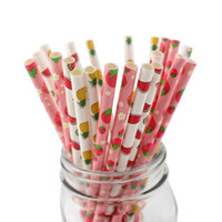 Summer Fruit Pattern Honeycomb Paper Straws for Wedding, Par...