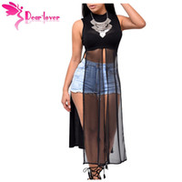 Stylish Woman Vest Party Mesh Patchwork Sans manches High Side Split Club Top 2016 Summer Long Tanks Camisole LC25857 17410