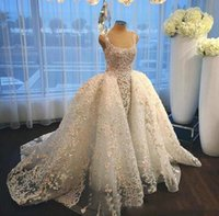 Noble Wedding Dresses Jewel Sheer Neck Sleeveless Bridal Gowns Back Zipper With Detachable Train With Applique Custom Made Formal Gowns