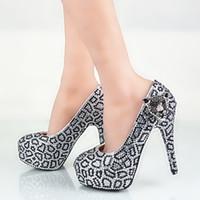 Plus la taille noir avec de l'argent strass chaussures de mariage tête de léopard décoration robe de mariée chaussures discothèque fête Prom pompes