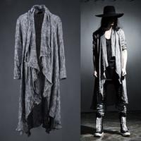 Toptan-Erkek Uzun Kollu Keten Fold Retro Şal Hırka Siper, Erkekler Uzun Çekme Tarzı Punk Rock Moda Kazak Ceket Erkekler Kabanlar, Q64