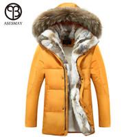 All'ingrosso- 2016 New Down Coat Long giacche invernali da uomo Parka con cappuccio caldo di alta qualità Plus Size Anatra giù cappotto cappotto di pelliccia naturale di spessore
